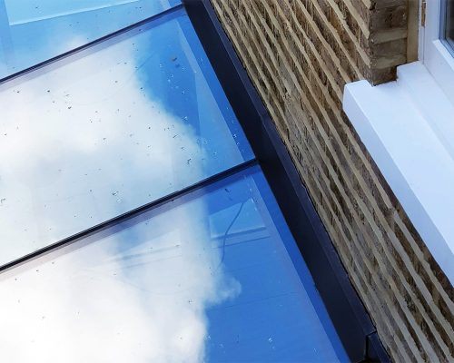 Glass roof on extension to a London terrace home